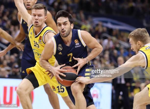 Facundo Campazzo, #7 of Real Madrid competes with Martin Hermannsson, #15 of Alba Berlin during the 2019/2020 Turkish Airlines EuroLeague Regular...