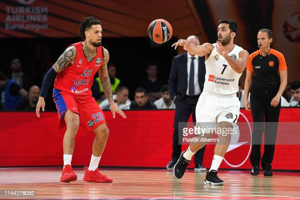 Facundo Campazzo #7 of Real Madrid in action during 2019 Turkish Airlines EuroLeague Final Four Semifinal B game between Semifinal B CSKA Moscow v...