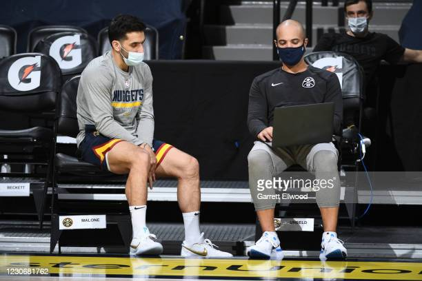 Facundo Campazzo and Assistant Coach, David Adelman watch film before the game against the Oklahoma City Thunder on January 19, 2021 at the Ball...