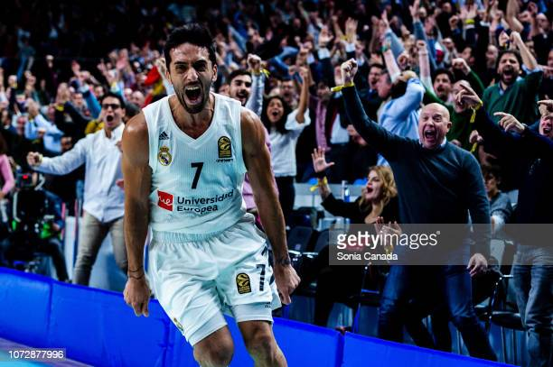 Facundo Campazzo guard of Real Madrid celebrates during the 2018/2019 Turkish Airlines Euroleague Regular Season Round 12 game between Real Madrid...