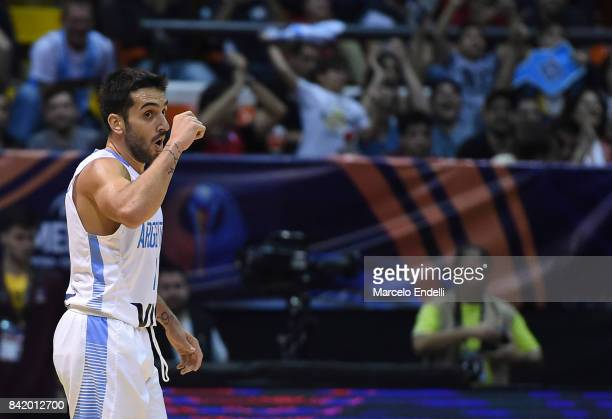 Facundo Campazzo of Argentina celebrates during a semi final match between Argentina and Mexico as part of FIBA AmeriCup 2017 at Orfeo Superdomo...