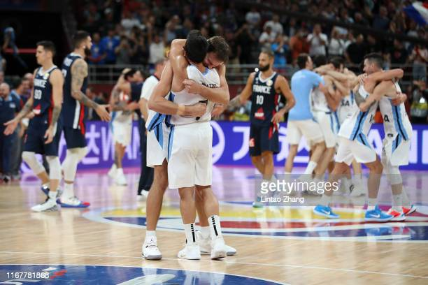 Facundo Campazzo of Argentina celebrates with teammate Marcos Delia after their team's win against France during the semi-finals of 2019 FIBA World...