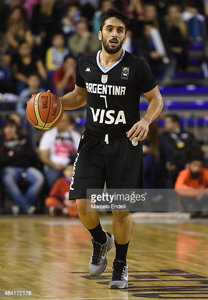 Facundo Campazzo of Argentina drives the ball during a match between Argentina and Brazil as part of Four Nations Championship at Tecnopolis Stadium...