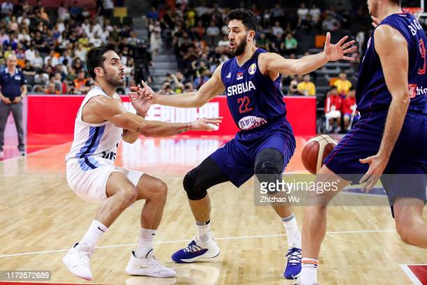 Facundo Campazzo of Argentina passes the ball during the quarter final of 2019 FIBA World Cup between Argentina and Serbia at Dongguan Basketball...