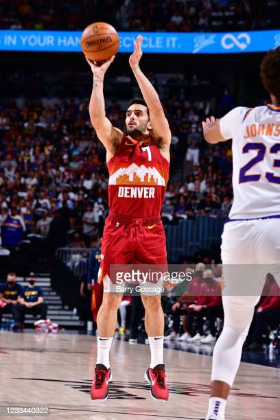 Facundo Campazzo of the Denver Nuggets shoots the ball against the Phoenix Suns during Round 2, Game 4 of the 2021 NBA Playoffs on June 13, 2021 at...