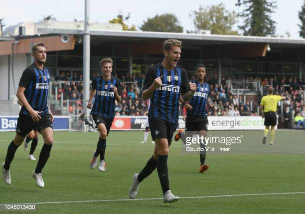 Facundo Colidio of FC Internazionale celebrates after scoring the opening goal during the the UEFA Youth League match between PSV U19 and FC...