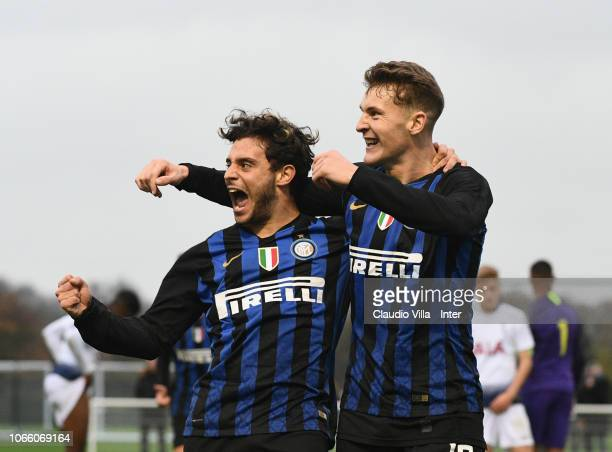 Facundo Colidio of FC Internazionale celebrates after scoring the fourth goal during the UEFA Youth League match between Tottenham Hotspur and FC...