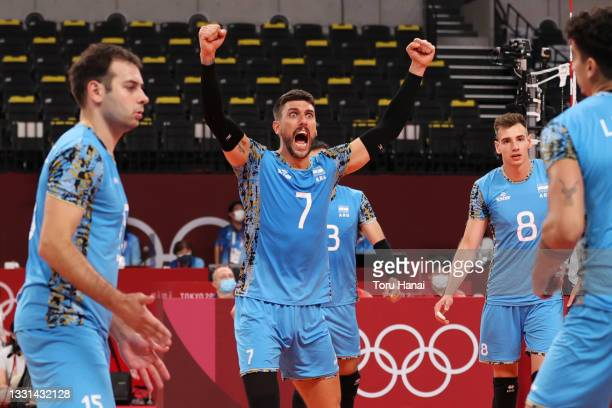 Facundo Conte of Team Argentina celebrates after defeating Team Tunisia during the Men's Preliminary Round - Pool B volleyball on day seven of the...