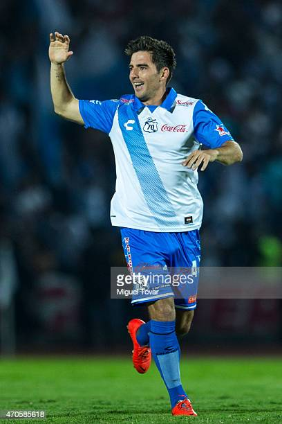 Facundo Erpen of Puebla celebrates after scoring the opening goal during a Championship match between Puebla and Chivas as part of Copa MX Clausura...