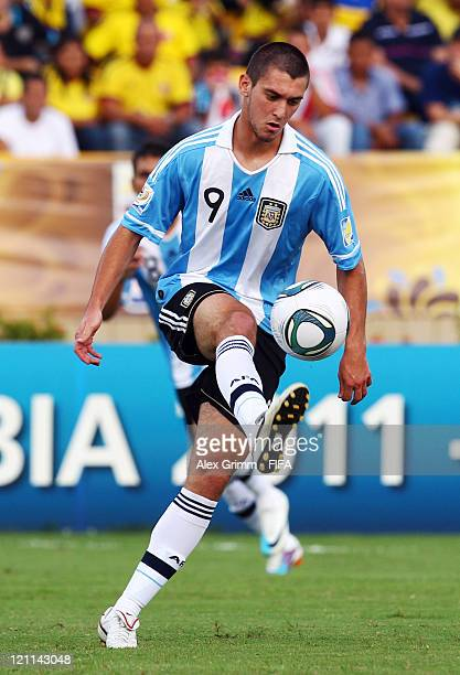 Facundo Ferreyra of Argentina controles the ball during the FIFA U20 World Cup 2011 quarter final match between Portugal and Argentina at Estadia...