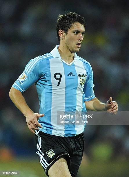 Facundo Ferreyra of Argentina in action during the FIFA U20 World Cup Colombia 2011 group F match between Argentina and England at the Atanasio...