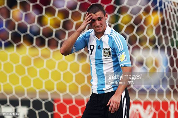 Facundo Ferreyra of Argentina reacts during the FIFA U20 World Cup 2011 quarter final match between Portugal and Argentina at Estadia Jaime Moron...