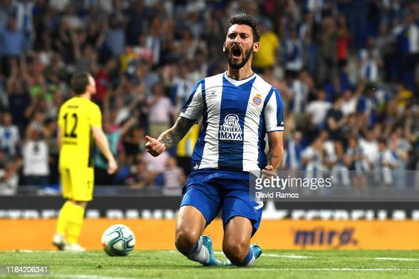Facundo Ferreyra of RCD Espanyol celebrates after scoring his team's first goal during the UEFA Europa League Second Qualifying round 1st leg match...