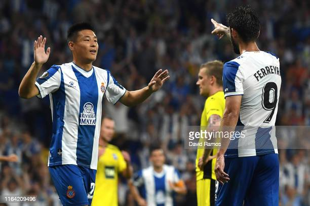 Facundo Ferreyra of RCD Espanyol celebrates with his team mate Wu Lei of RCD Espanyol after scoring his team's second goal during the UEFA Europa...