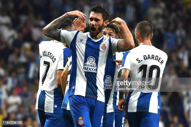 Facundo Ferreyra of RCD Espanyol celebrates with his team mates after scoring his team's second goal during the UEFA Europa League Second Qualifying...