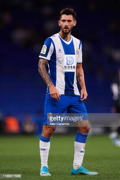 Facundo Ferreyra of RCD Espanyol looks on during the UEFA Europa League Play Off match between Espanyol and Zoryan Luhansk at RCDE Stadium on August...