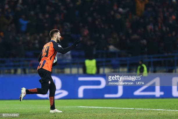 Facundo Ferreyra of Shakhtar Donetsk celebrates his goal during the UEFA Champions League Round of 16 First Leg match between Shakhtar Donetsk and AS...