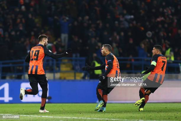 Facundo Ferreyra of Shakhtar Donetsk celebrates his goal with teammates during the UEFA Champions League Round of 16 First Leg match between Shakhtar...