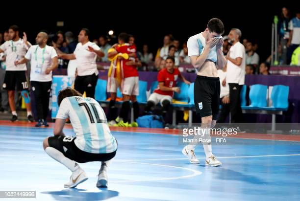 Facundo Gassman of Argentina reacts in the Men's Futsal 3rd place match between Argentina and Egypt during the Buenos Aires Youth Olympics 2018 at...