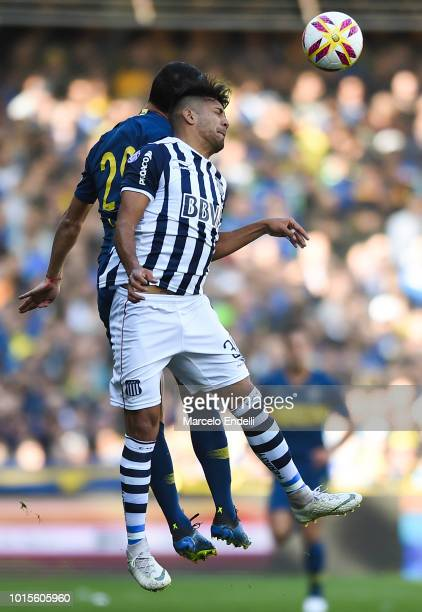 Facundo Medina of Talleres heads the ball during a match between Boca Juniors and Talleres as part of Superliga Argentina 2018/19 at Estadio Alberto...