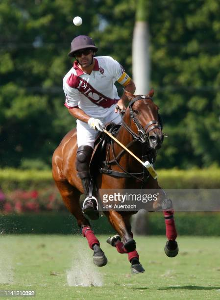 Facundo Pieres of Pilot plays the ball against Postage Stamp during the 2019 Captive One US Open Polo Championship on April 7 2019 at the...