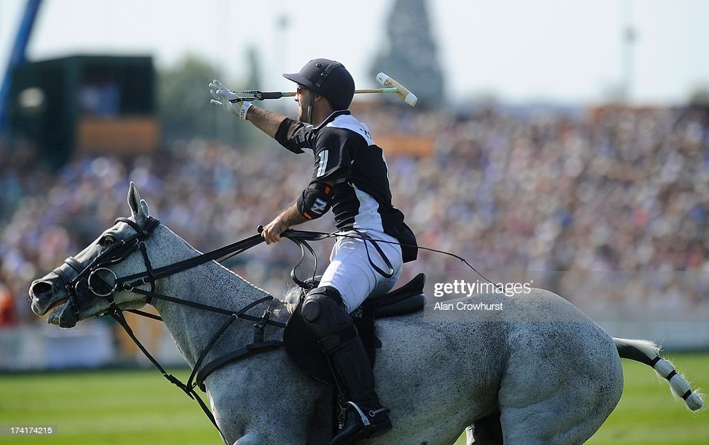 Facundo Pieres of Zacara celebrates after scoring during the The Veuve Clicquot Gold Cup for the British Open Polo Championship Final between Dubai and Zacara at Cowdray Park Polo Club on July 21, 2013 in Midhurst, England.