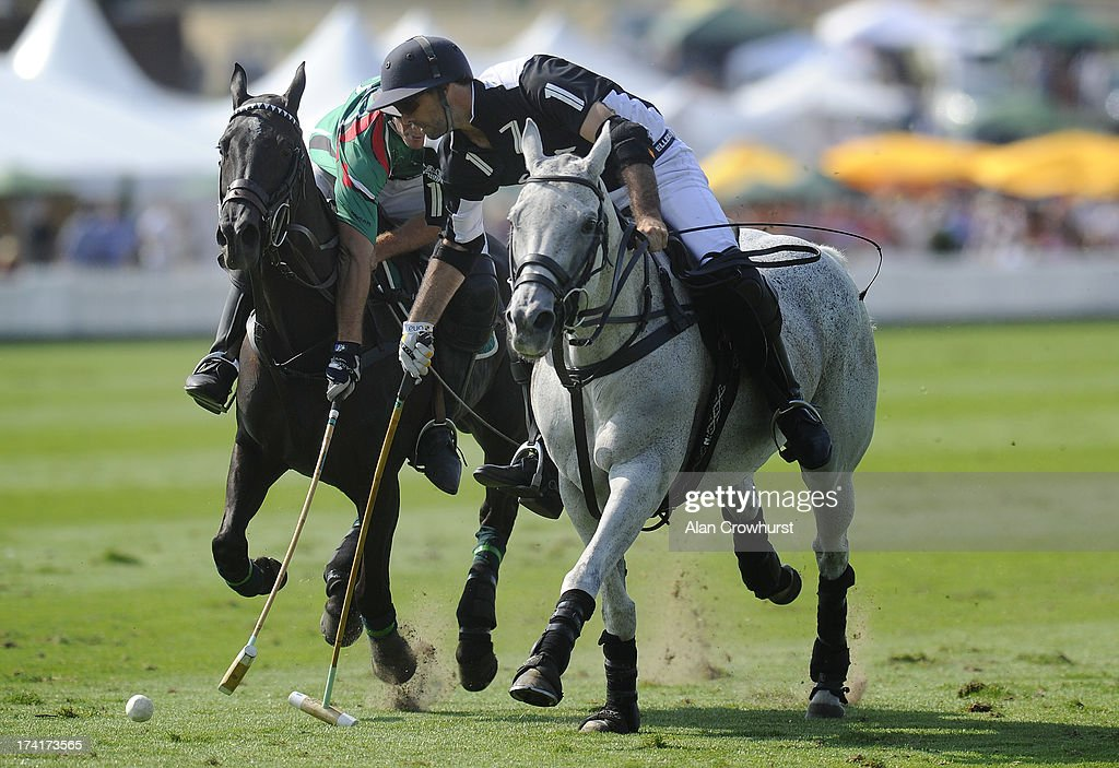 Facundo Pieres (R) of Zacara scores during the The Veuve Clicquot Gold Cup for the British Open Polo Championship Final between Dubai and Zacara at Cowdray Park Polo Club on July 21, 2013 in Midhurst, England.