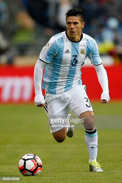 Facundo Roncaglia of Argentina drives the ball during a group D match between Argentina and Bolivia at CenturyLink Field as part of Copa America...