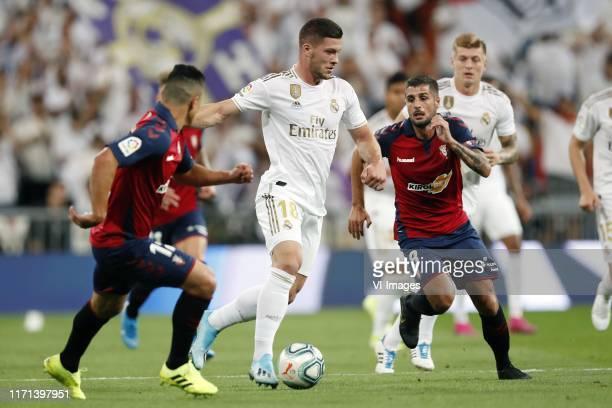 Facundo Roncaglia of CA Osasuna Luka Jovic of Real Madrid Fran Merida of CA Osasuna during the LaLiga Santander match between Real Madrid and CA...