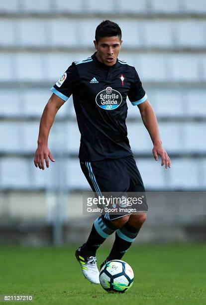 Facundo Roncaglia of Celta de Vigo in action during the preseason friendly match between Celta de Vigo and Racing de Ferrol at A Malata Stadium on...