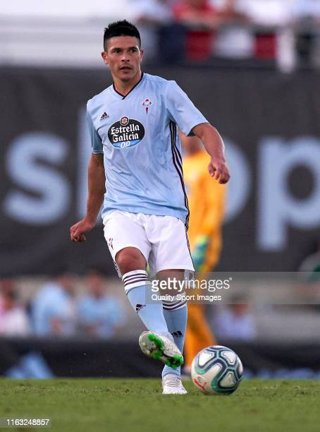 Facundo Roncaglia of Real Club Celta runs with the ball during the PreSeason match between real Club Celta and Lugo at stadium of Baltar on July 20...