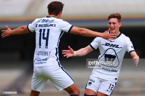 Facundo Waller of Pumas UNAM celebrates after scoring the first goal of his team during the 2nd round match between Pumas UNAM and Mazatlan FC as...