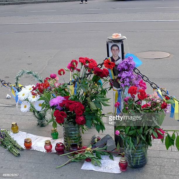 Faded flowers mark some of the spots at the Greek Square in Odessa, Ukraine, where six people died in street battle between pro-Russian and...
