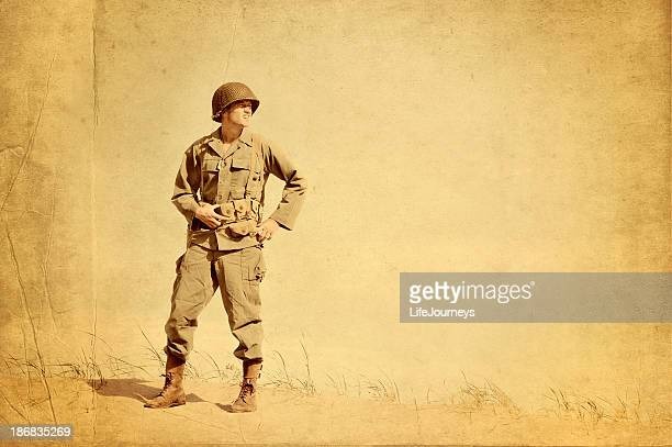 faded picture of world war ii american infantryman - world war ii stock pictures, royalty-free photos & images