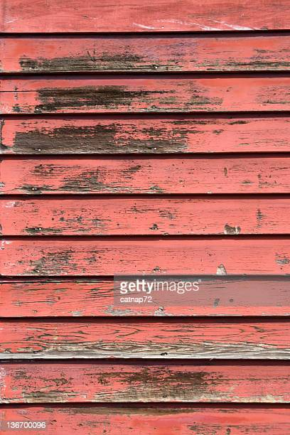 Faded Red House Clapboard Siding, Close Up