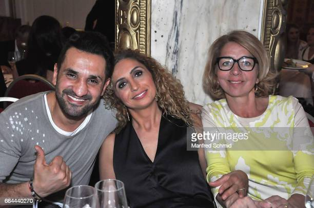Fadi Merza Eser AriAkbaba and Emese Hunyady pose during the Pro Juventute 70th anniversary charity event at Schlosshotel Schoenbrunn on April 3 2017...