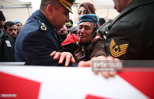 Fadime Demir mother of the Turkish soldier Ferhat Demir martyred in Operation Euphrates Shield in Syria wearing her son's beret cries over the...
