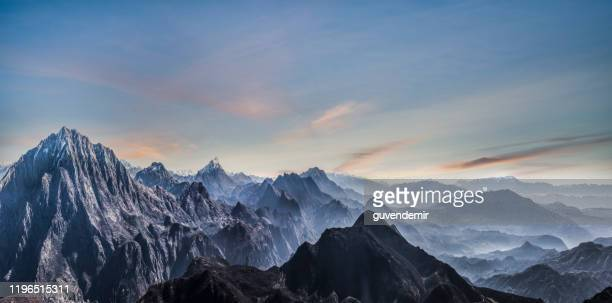 fading mountain landscape of himalayas - himalayas stock pictures, royalty-free photos & images