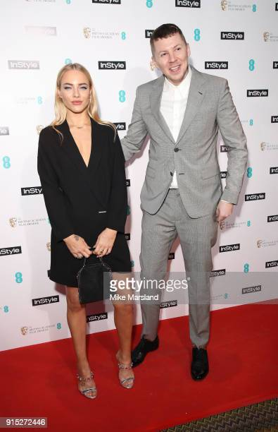 Fae Williams and Professor Green attend the EE InStyle Party held at Granary Square Brasserie on February 6 2018 in London England