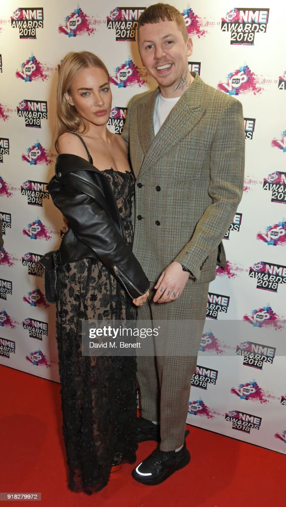 Fae Williams and Professor Green attend the VO5 NME Awards held at Brixton Academy on February 14, 2018 in London, England.