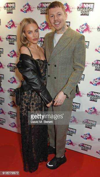 Fae Williams and Professor Green attend the VO5 NME Awards held at Brixton Academy on February 14 2018 in London England