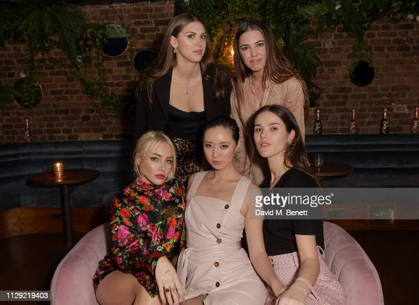 Fae Williams Sabrina Percy Betty Bachz Amber Le Bon and Frankie Herbert attend Valentine's Day dinner hosted by PerrierJouet and Atelier Romy at The...