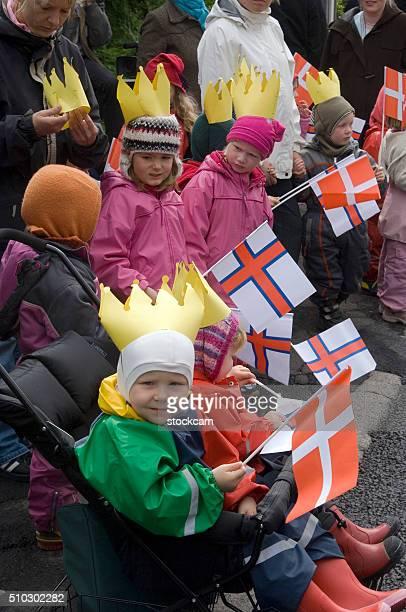 Faeroese children in traditional dresses, Faroe Islands, Denmark