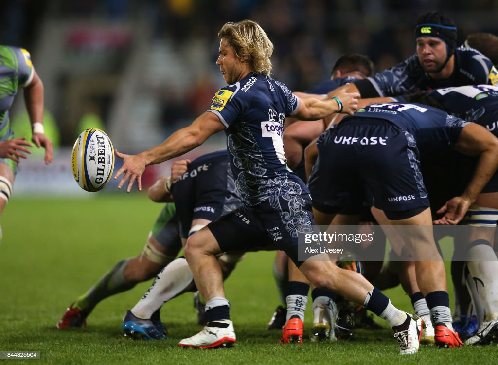 Faf de Klerk of Sale Sharks kicks the ball clear during the Aviva Premiership match between Sale Sharks and Newcastle Falcons at AJ Bell Stadium on September 8, 2017 in Salford, England.