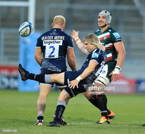 Faf de Klerk of Sale Sharks kicks the ball upfield during the Gallagher Premiership Rugby match between Sale Sharks and Leicester Tigers at AJ Bell...
