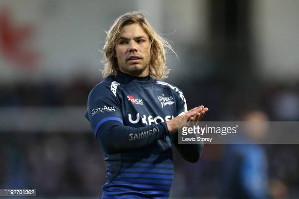 Faf De Klerk of Sale Sharks looks on during the Heineken Champions Cup Round 3 match between Sale Sharks and Exeter Chiefs at AJ Bell Stadium on...