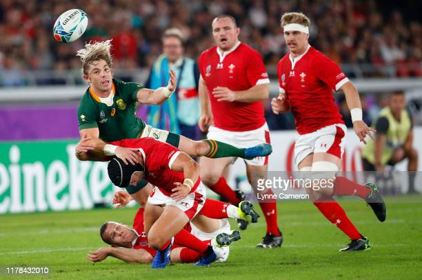 Faf de Klerk of South Africa and Leigh Halfpenny of Wales during the Rugby World Cup 2019 SemiFinal match between Wales and South Africa at...