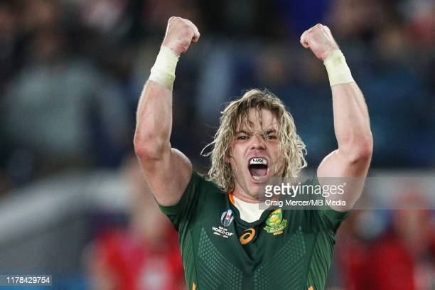 Faf de Klerk of South Africa celebrates his side winning a penalty to end the match in victory during the Rugby World Cup 2019 SemiFinal match...