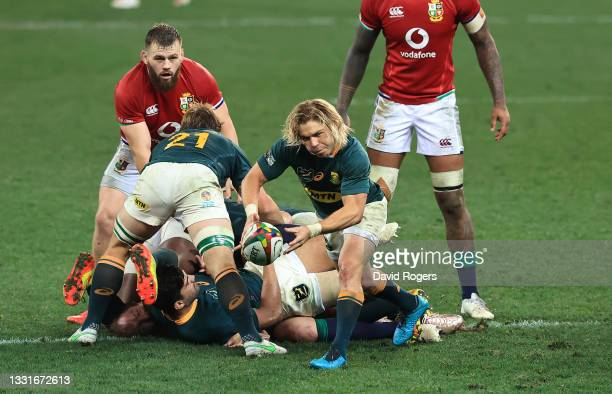 Faf de Klerk of South Africa passes the ball during the 2nd test match between South Africa Springboks and the British & Irish Lions at Cape Town...
