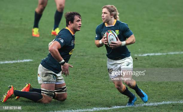 Faf de Klerk of South Africa ruthe ball during the 2nd test match between South Africa Springboks and the British & Irish Lions at Cape Town Stadium...